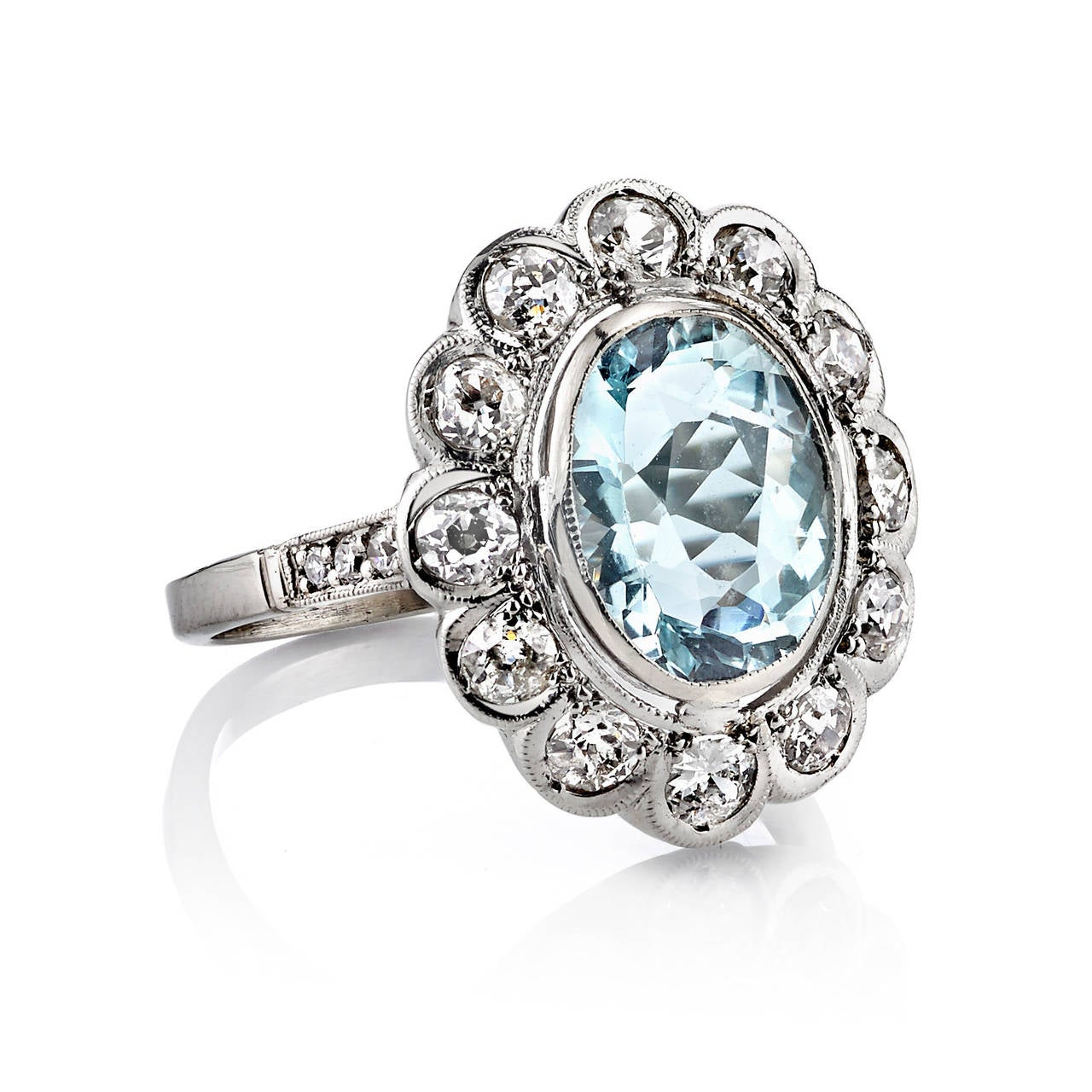 Art Deco Aquamarine Diamond Palladium Cluster Ring at 1stdibs