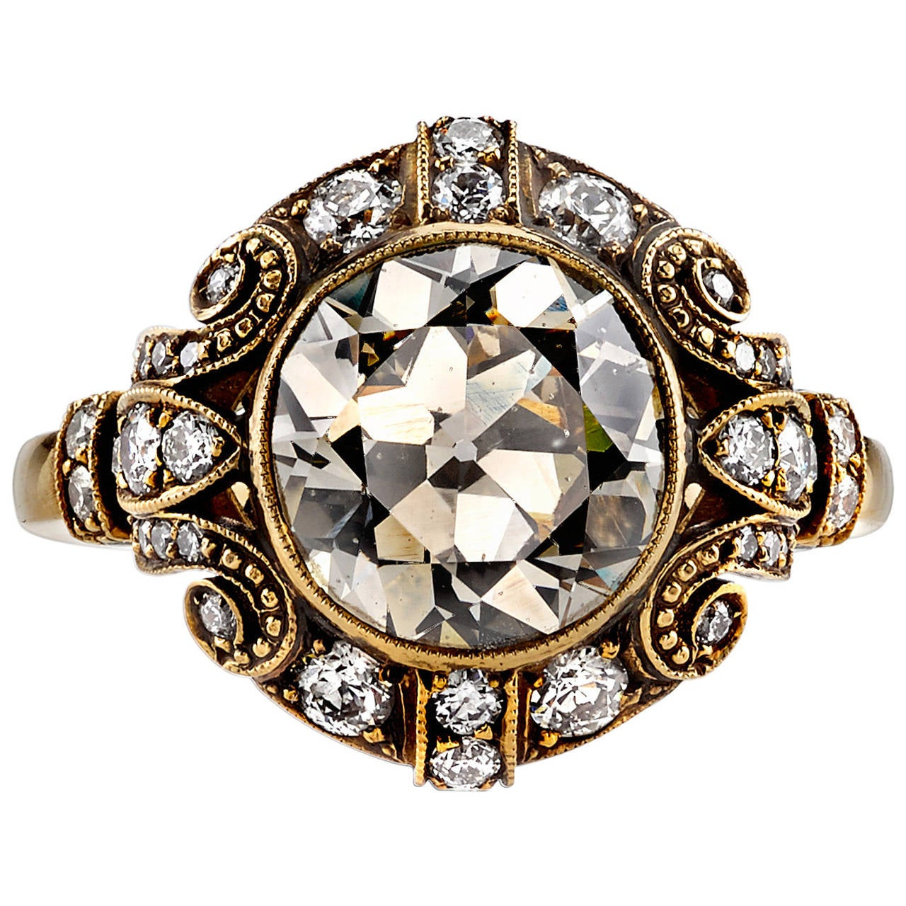 3.07 Carat Old Mine Cut Diamond Gold Engagement Ring For Sale
