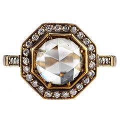Rose Cut Diamond Gold Engagement Ring