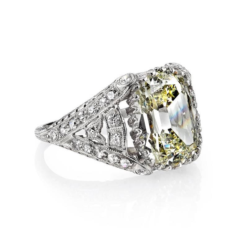 Incredible 5 38ct Vintage Cushion Cut Diamond Engagement Ring c1920 image 2