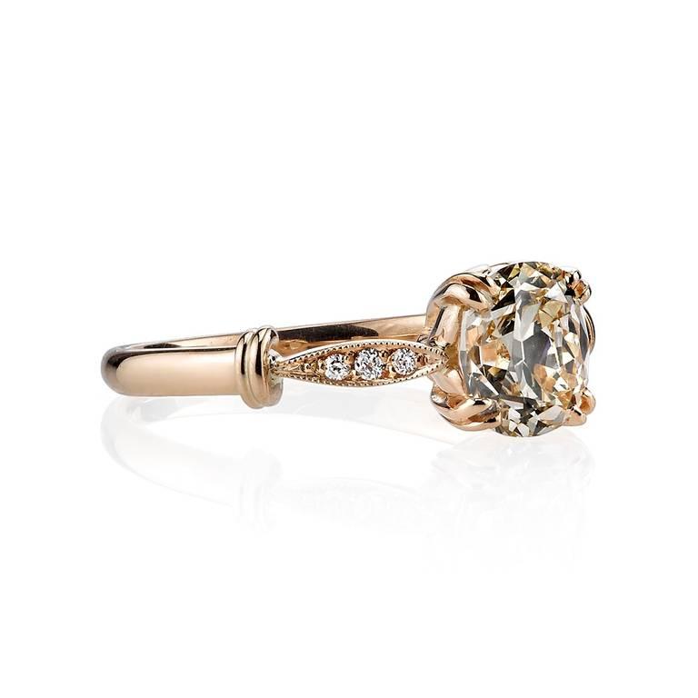 Rose Gold Cushion Cut Diamond Engagement Ring at 1stdibs