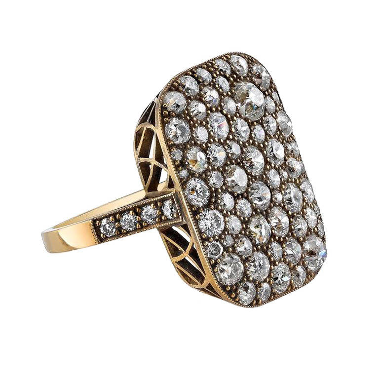 3.53ctw old European, old Mine, vintage Cushion cut, Single cut and Round Brilliant diamonds set in handcrafted 18K oxidized yellow gold mounting.
