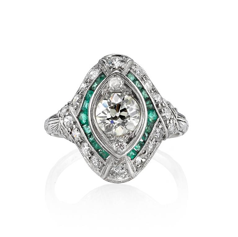 French Cut Emerald Accents Diamond Ring at 1stdibs