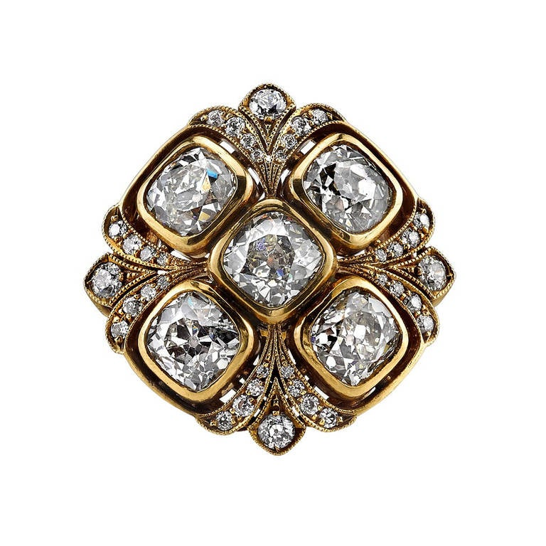 Cushion Cut Diamond Cluster Ring