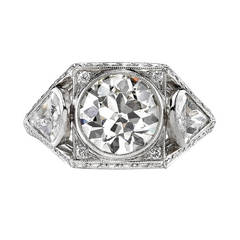 One of a Kind Diamond Platinum Engagement Ring