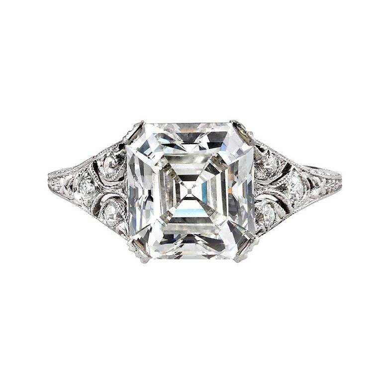 1920s Asscher Cut Diamond Engagement Ring
