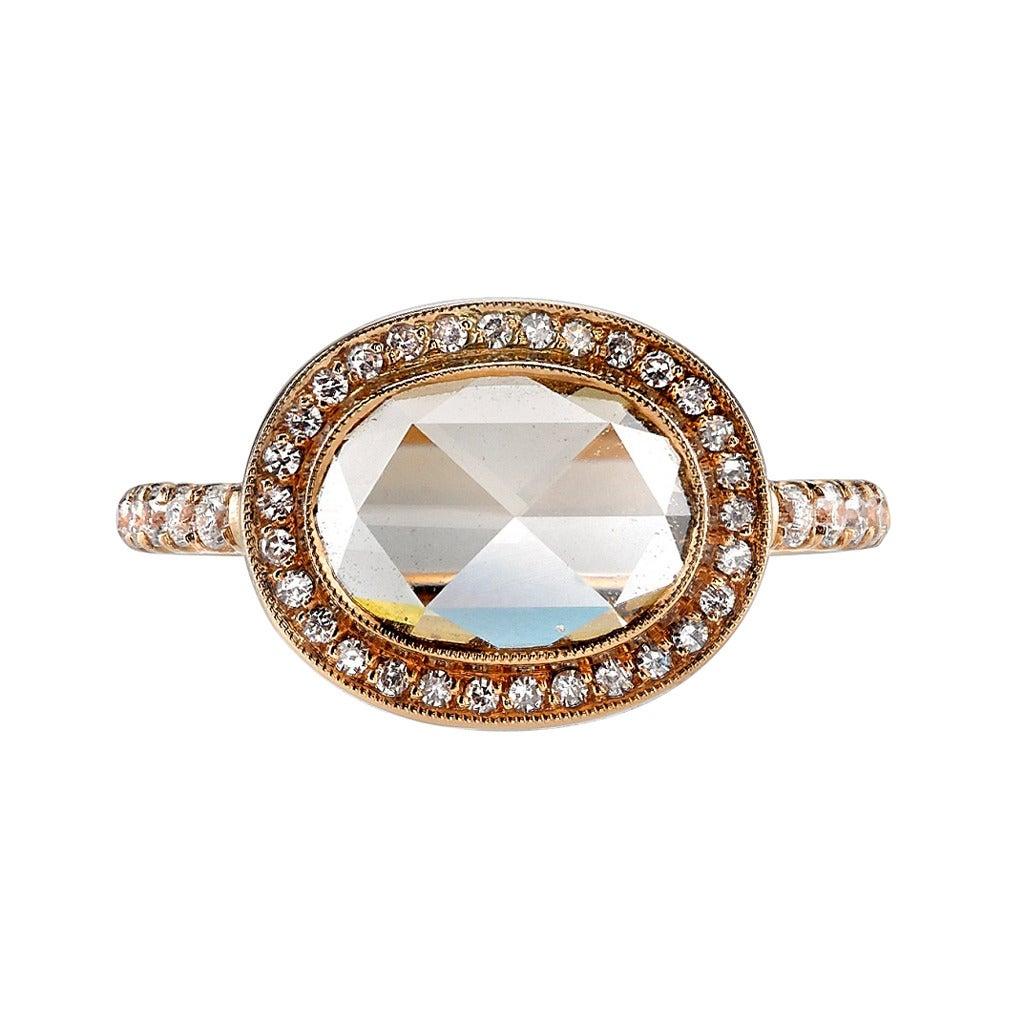 Rose Cut Diamond Halo Engagement Ring At 1stdibs