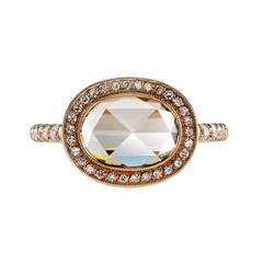 Rose Cut Diamond Halo Engagement Ring
