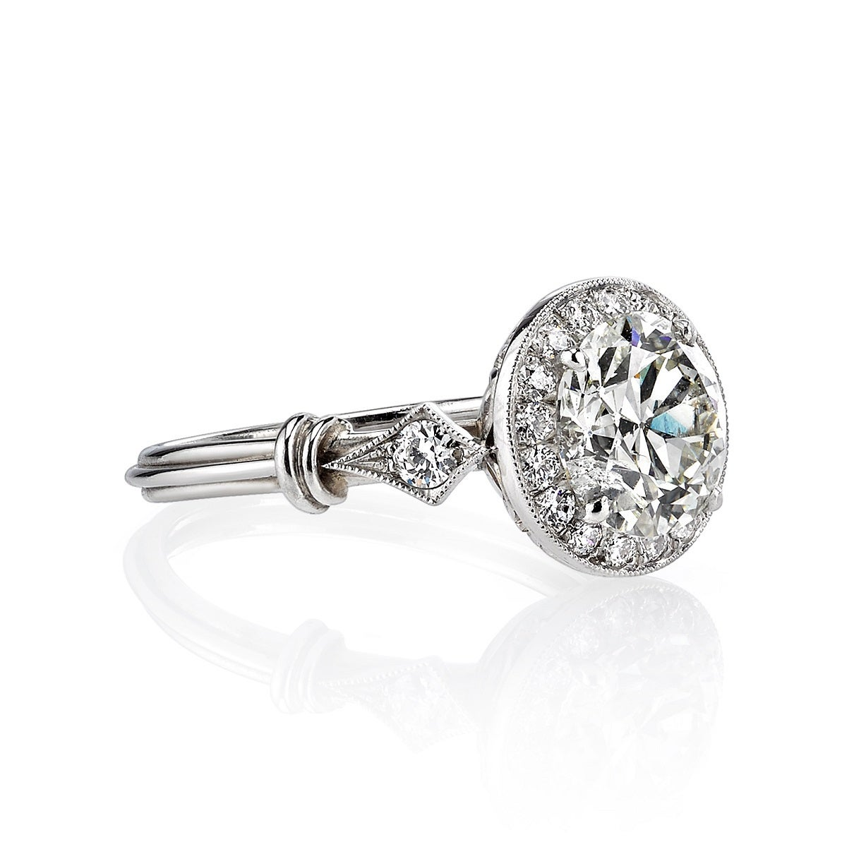 vintage inspired halo engagement ring at 1stdibs