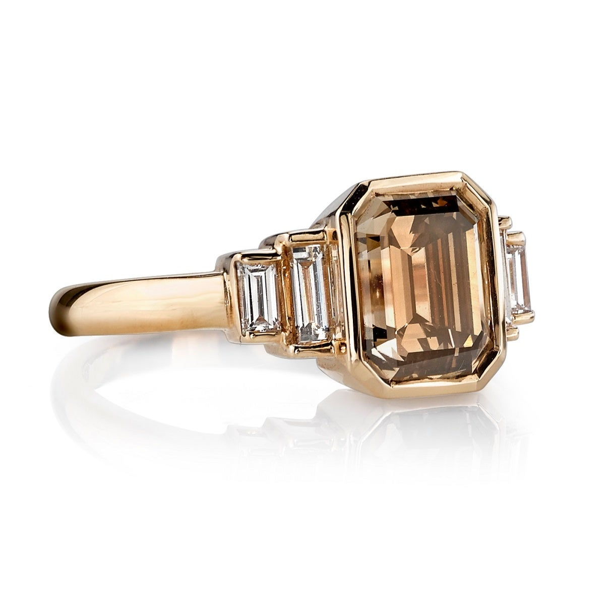 Brown Emerald Cut Diamond Engagement Ring 2