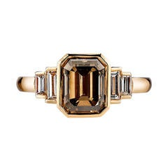 Brown Emerald Cut Diamond Engagement Ring