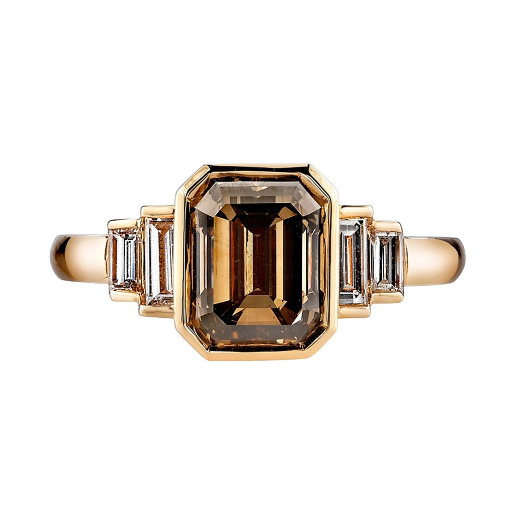Brown Emerald Cut Diamond Engagement Ring 1