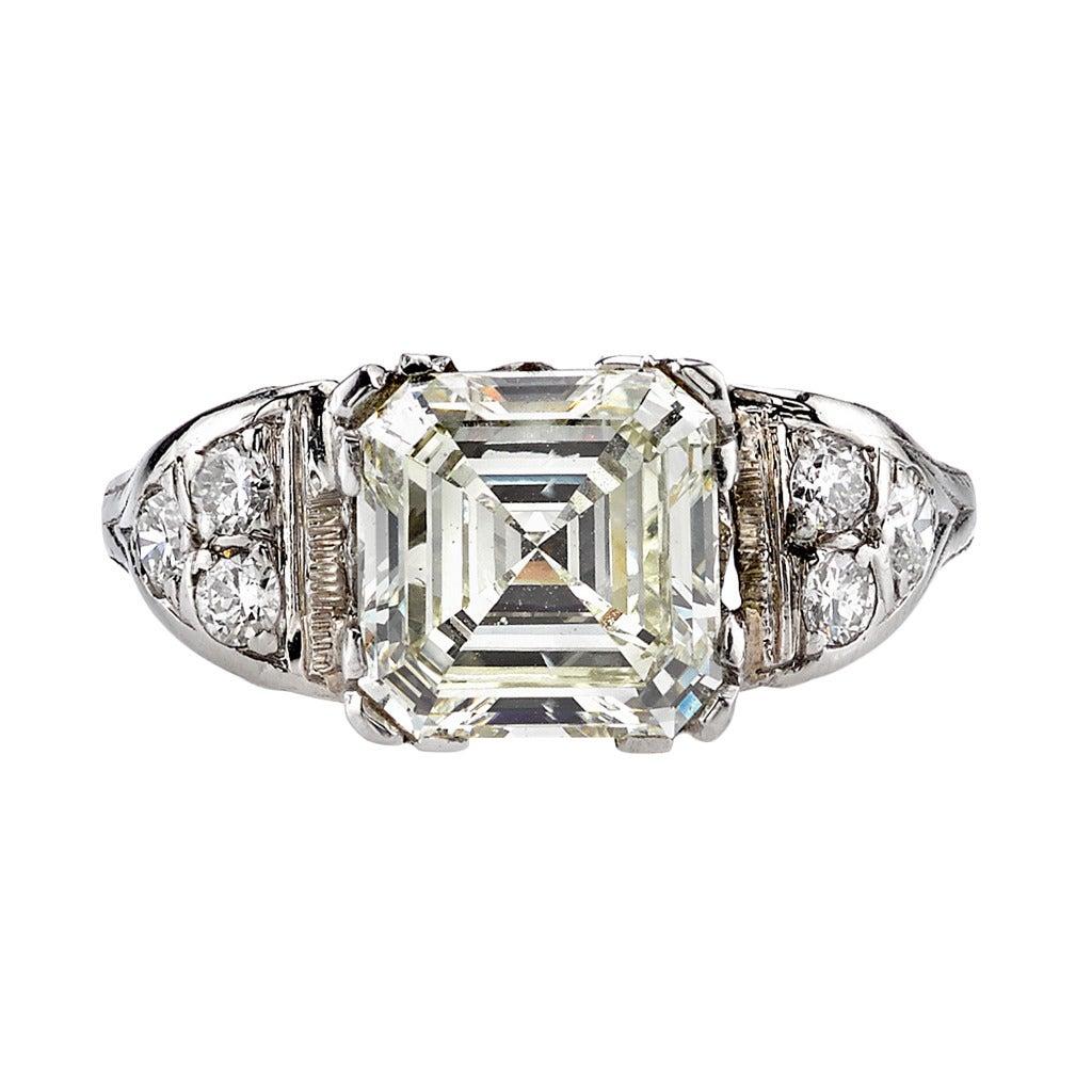2 38ct Vintage Asscher Cut Diamond Engagement Ring at 1stdibs