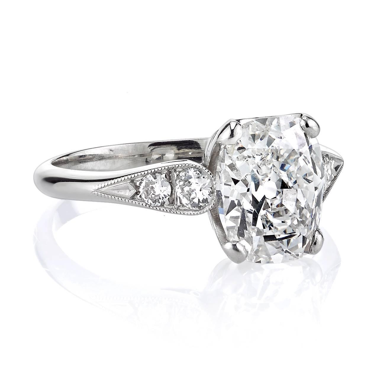 2 33 Carat Cushion Cut Diamond platinum Engagement Ring For Sale at 1stdibs