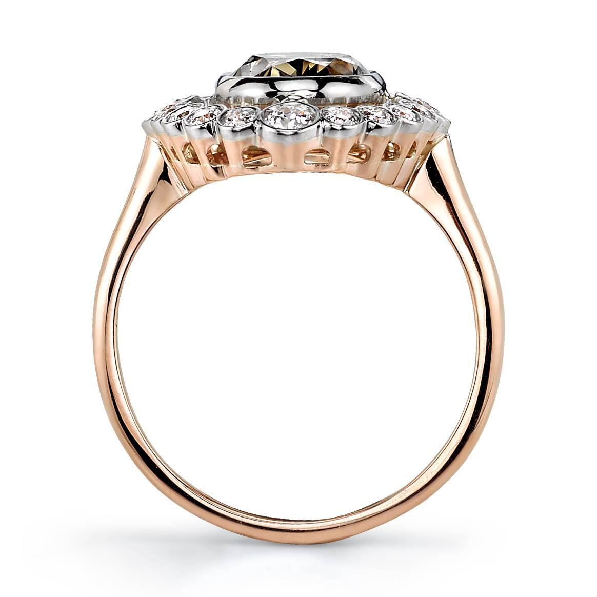Beautiful 2 41 Carat Brown Oval Cut Diamond gold platinum Engagement Ring For