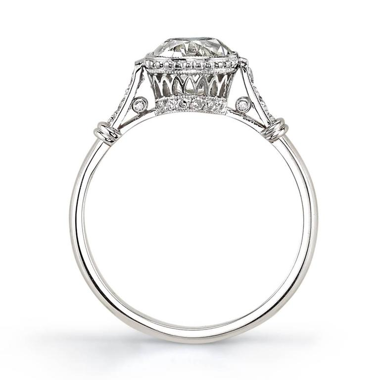Art Deco 1.57 carat Cushion Cut diamond platinum Engagement Ring  For Sale