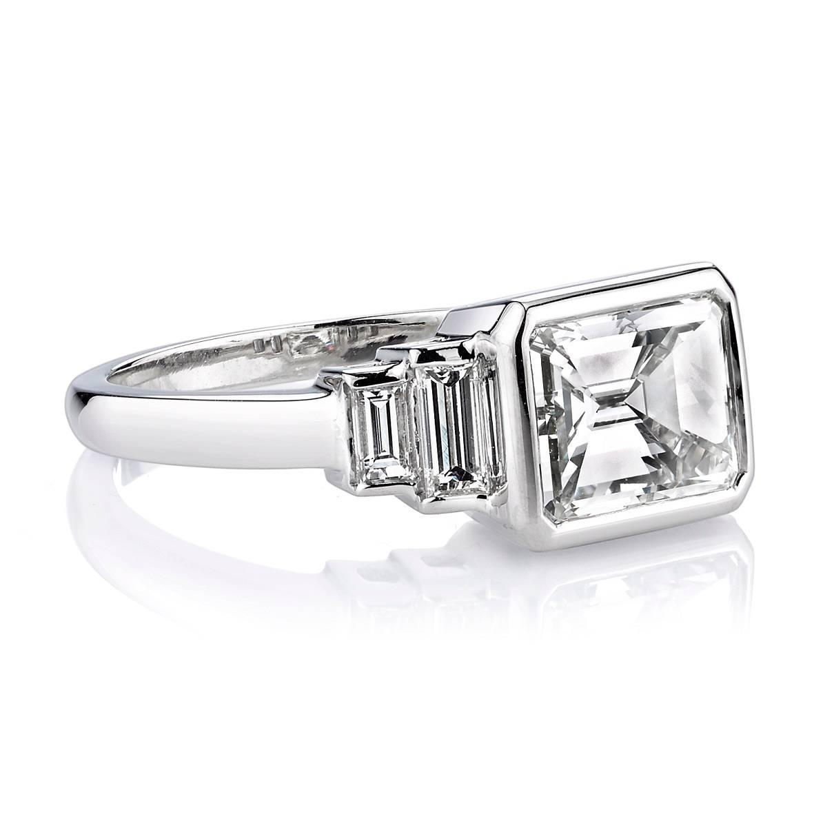 Art Deco 2 40 Carat GIA Cert Emerald Cut Diamond Platinum Engagement Ring For