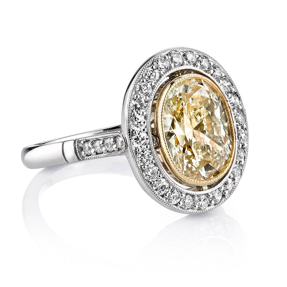 2 04 Carat Oval Diamond Gold Platinum Engagement Ring at 1stdibs