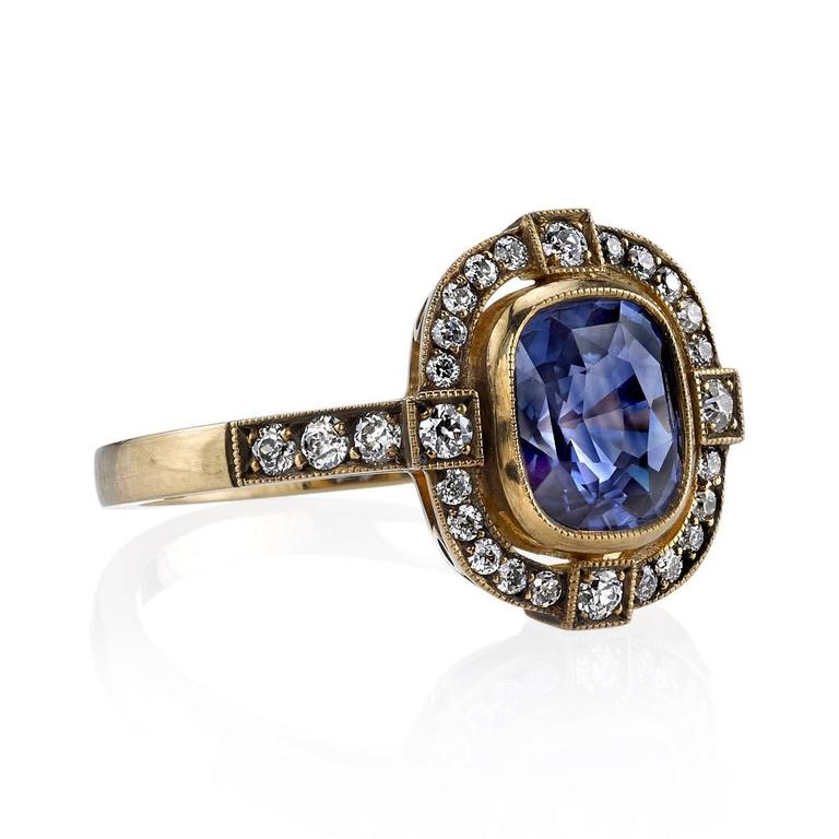 sapphire and oxidized yellow gold engagement ring for sale