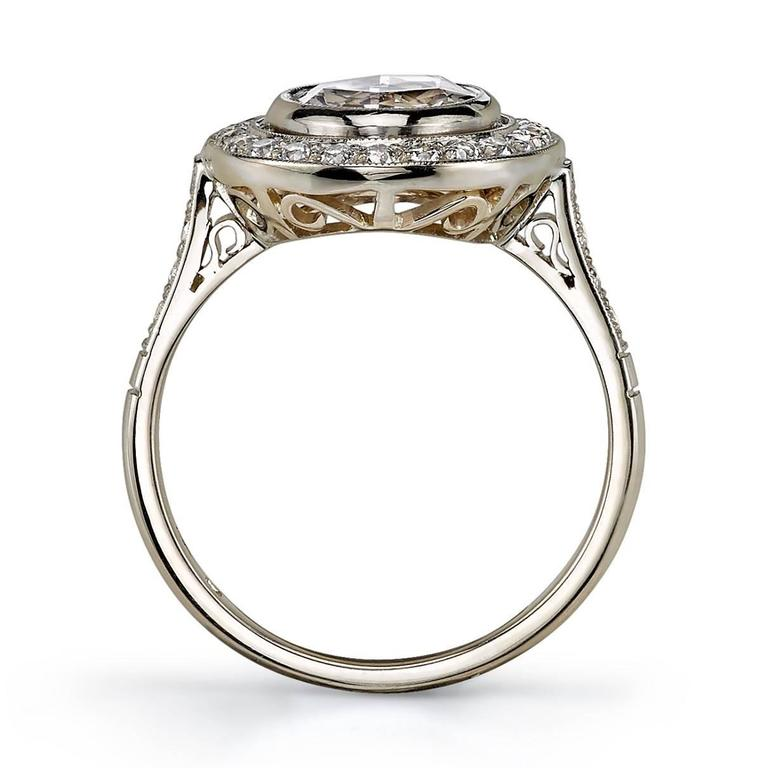Art Deco Rose Cut Diamond White Gold Engagement Ring For Sale