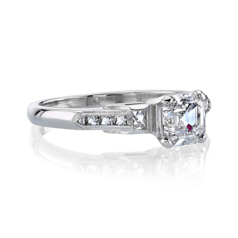 1.07ct H/VS1 Asscher cut diamond GIA certified and set in a vintage platinum mounting.  Circa 1920.