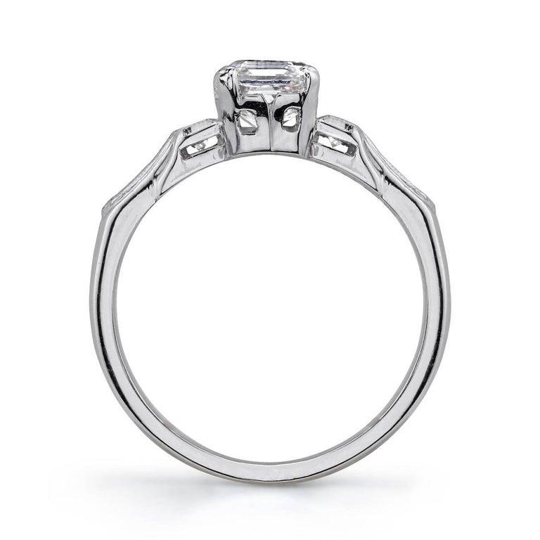 Art Deco Vintage Platinum GIA Certified Asscher Cut Diamond Engagement Ring For Sale