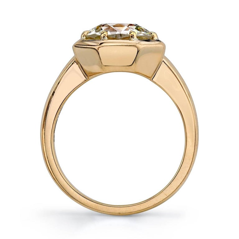 Contemporary Yellow Gold GIA Certified Old European Cut Diamond Engagement Ring For Sale