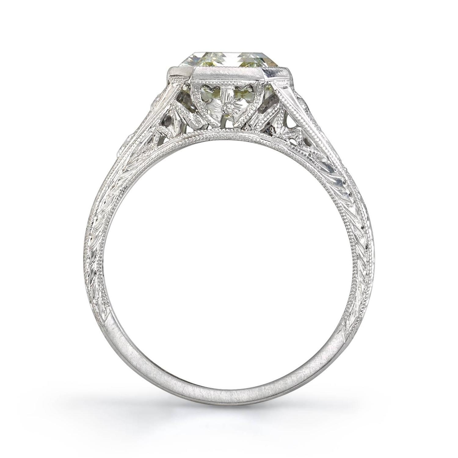 3 06 Carat Emerald Cut Diamond platinum Engagement Ring For Sale at 1stdibs
