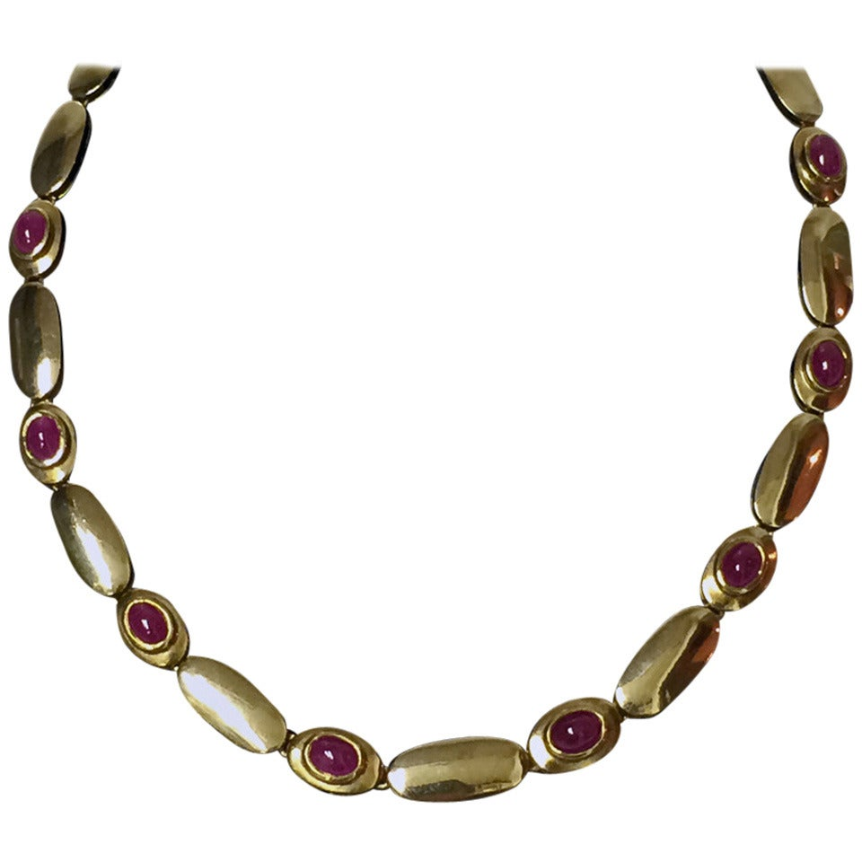 matching ruby gold necklace and bracelet at 1stdibs