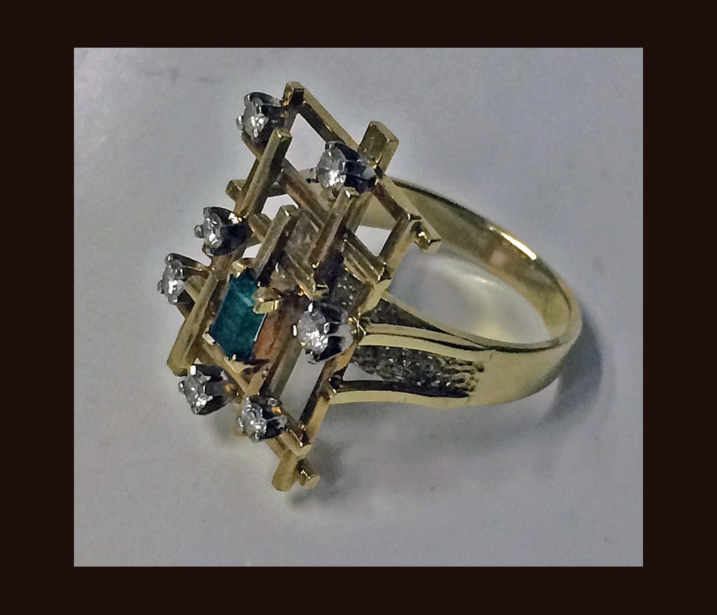 Modern English Abstract Emerald Diamond Ring circa 1970