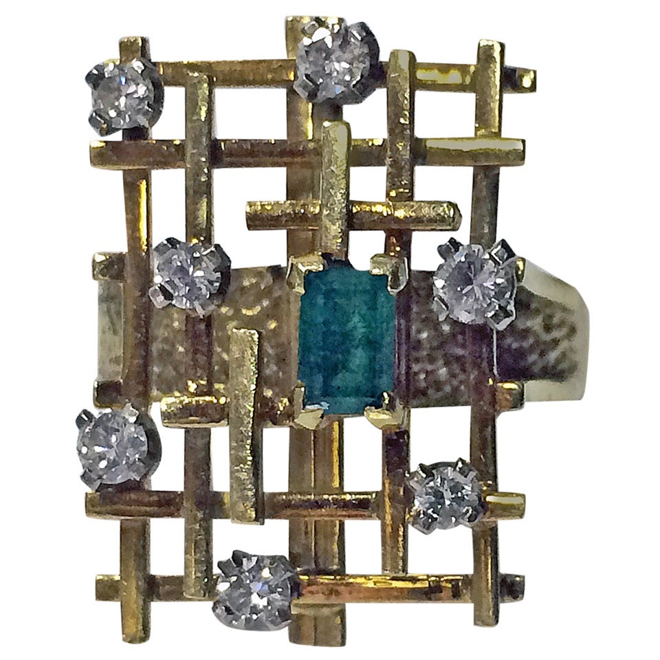English Abstract Emerald Diamond Ring circa 1970