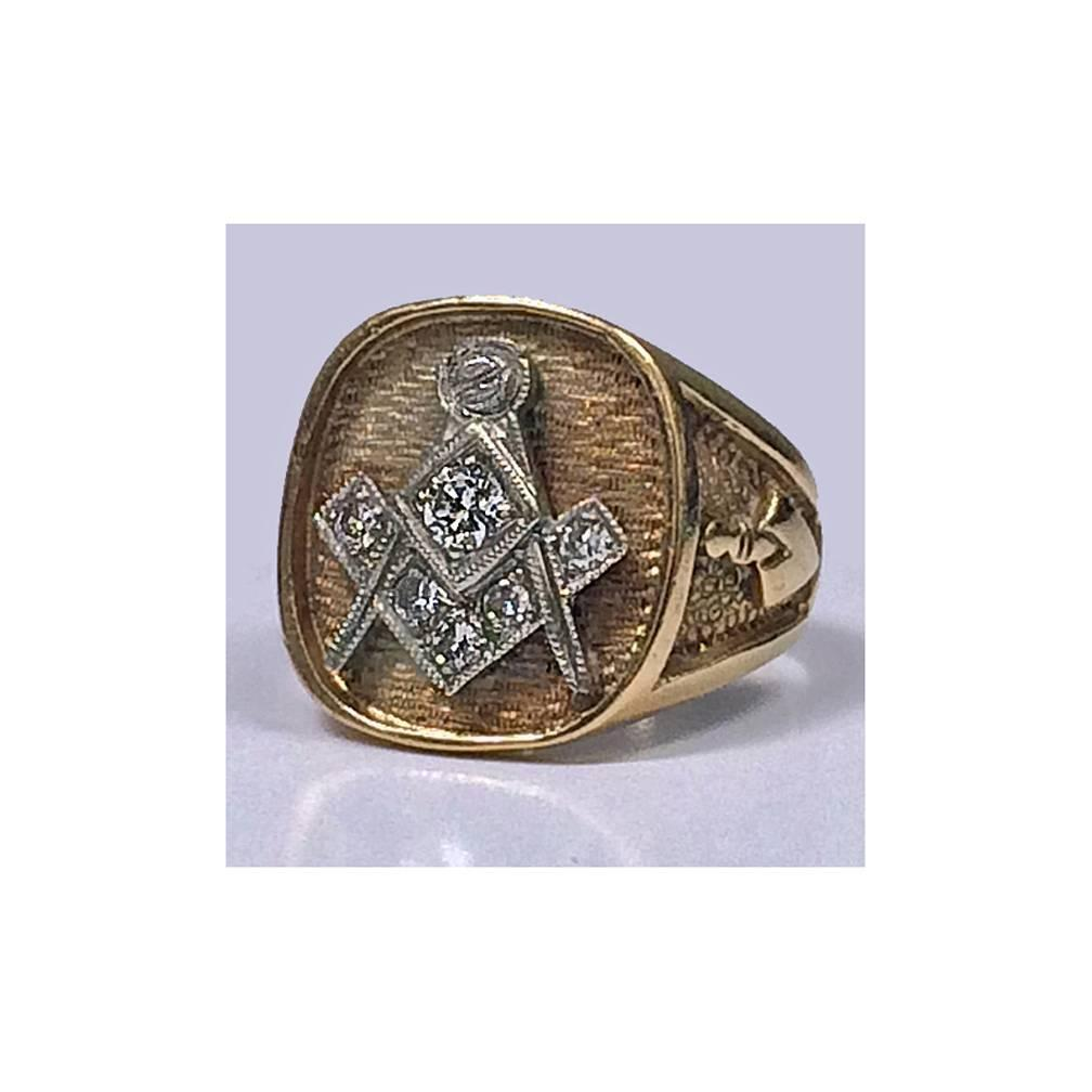 1950s gold masonic ring for sale at 1stdibs