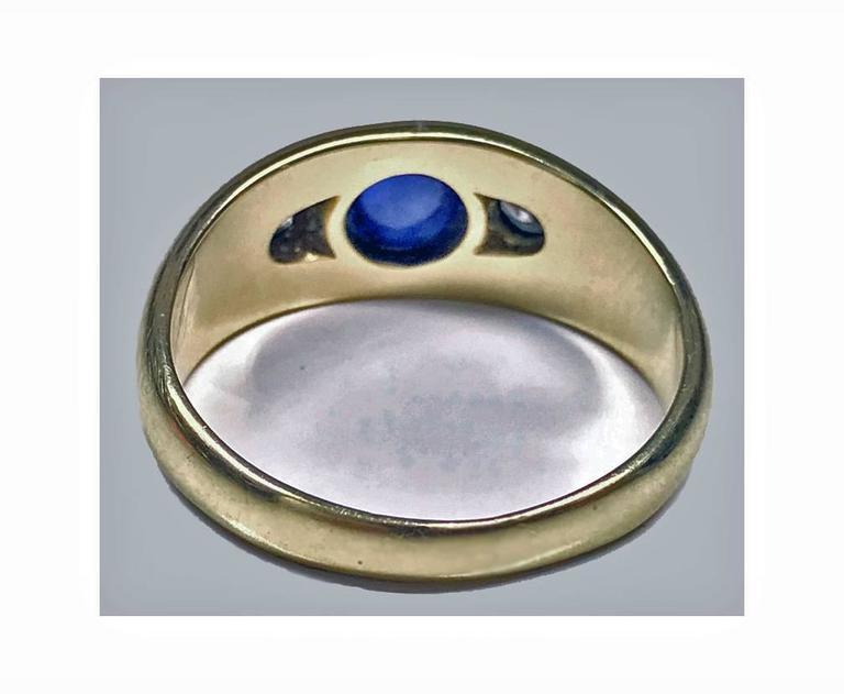 Women's or Men's 1940s Sapphire Diamond Gold Ring For Sale