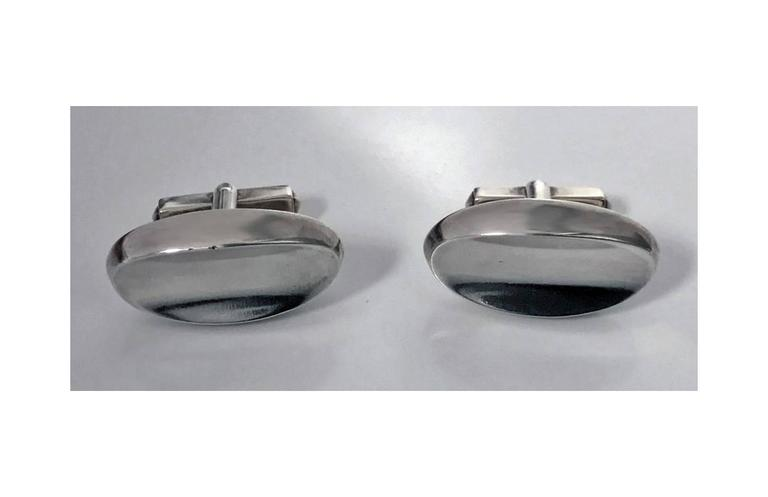 1950s Scandinavian Modernist Sterling Cufflinks In Good Condition For Sale In Toronto, ON
