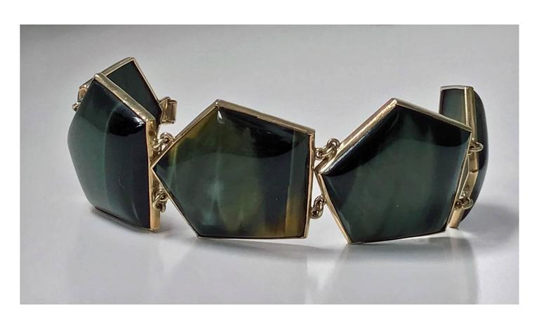 1970s Modernist Labradorite Gold Bracelet For Sale 1