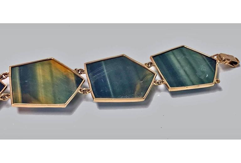 1970s Modernist Labradorite Gold Bracelet For Sale 2