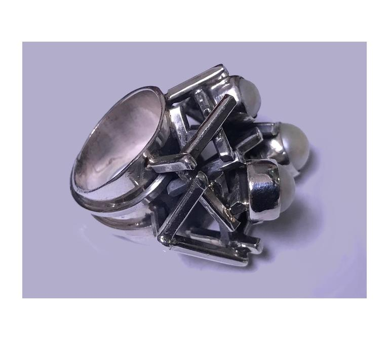 Rachel Gera Israel Abstract Modernist Sterling Ring, circa 1975 For Sale 3