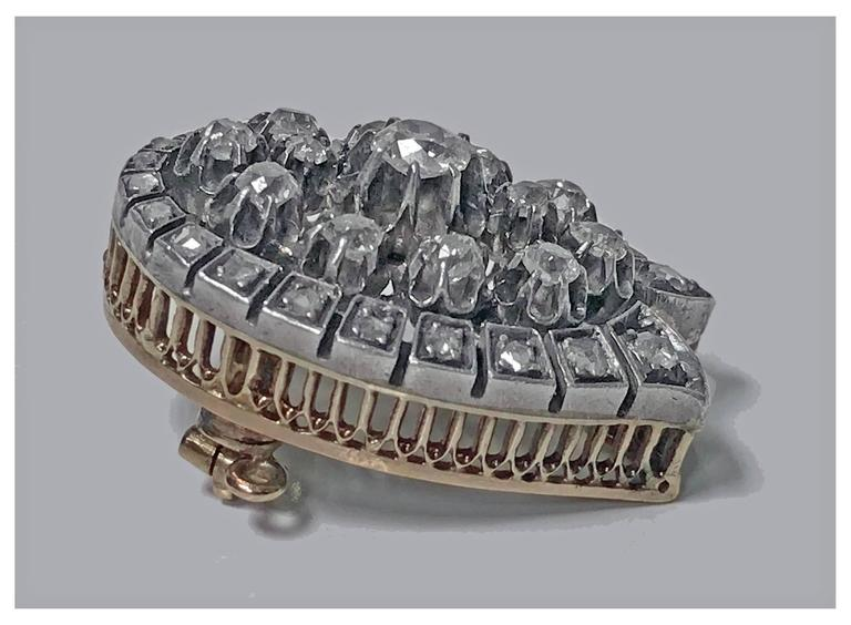 French 19th Century Diamond  Brooch Pendant, circa 1870 In Good Condition For Sale In Toronto, ON