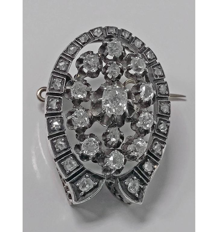 Women's or Men's French 19th Century Diamond  Brooch Pendant, circa 1870 For Sale