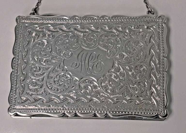 Antique Silver Purse Card Case Birmingham 1910, Adie In Good Condition For Sale In Toronto, ON