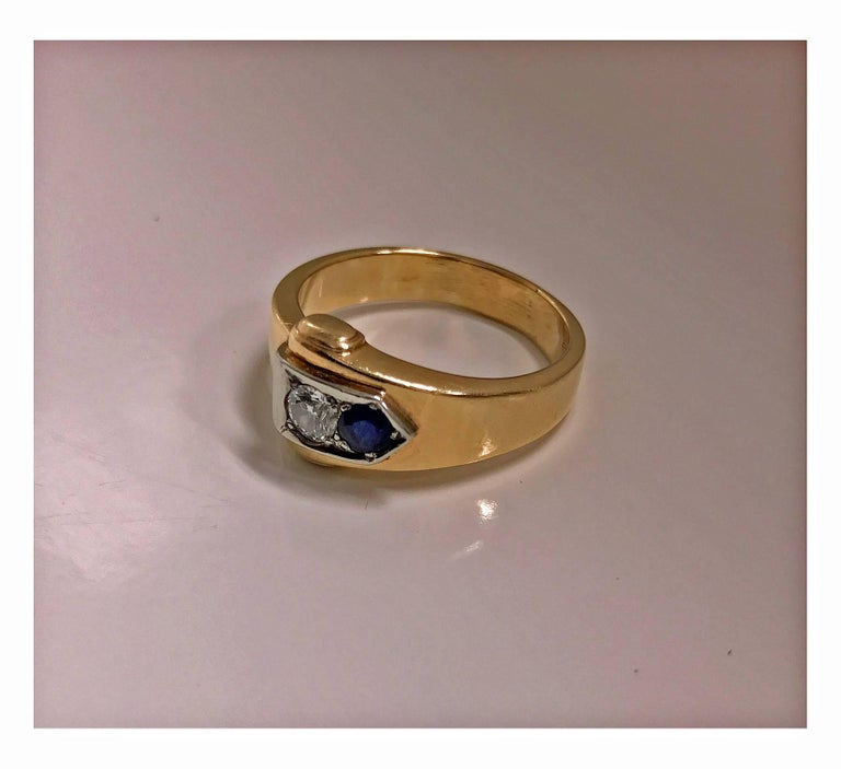 Old European Cut Sapphire and Diamond Ring, 20th Century For Sale