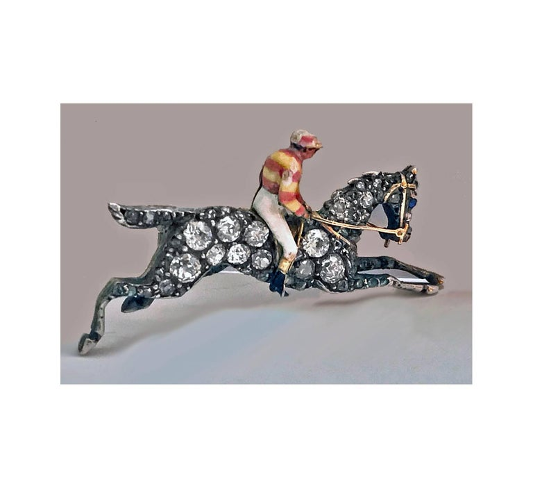 Women's or Men's 19th Century English Diamond Enamel Racehorse Brooch Pin For Sale