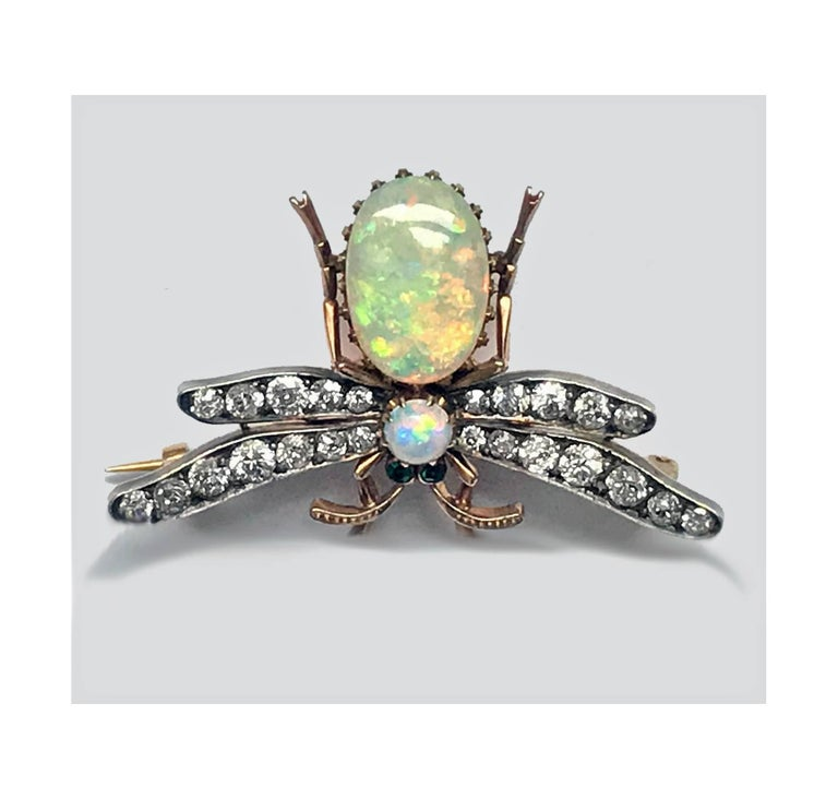 19th Century English Opal Diamond Bee Brooch Pendant In Good Condition For Sale In Toronto, ON