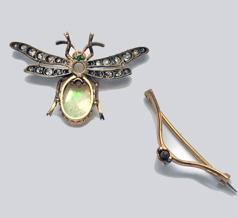 Women's or Men's 19th Century English Opal Diamond Bee Brooch Pendant For Sale