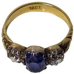 Antique 19th Century Sapphire Diamond Ring, C.1850