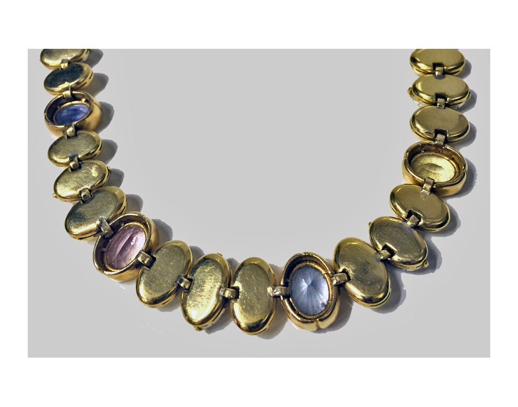 sapphire gold coffee bean necklace at 1stdibs