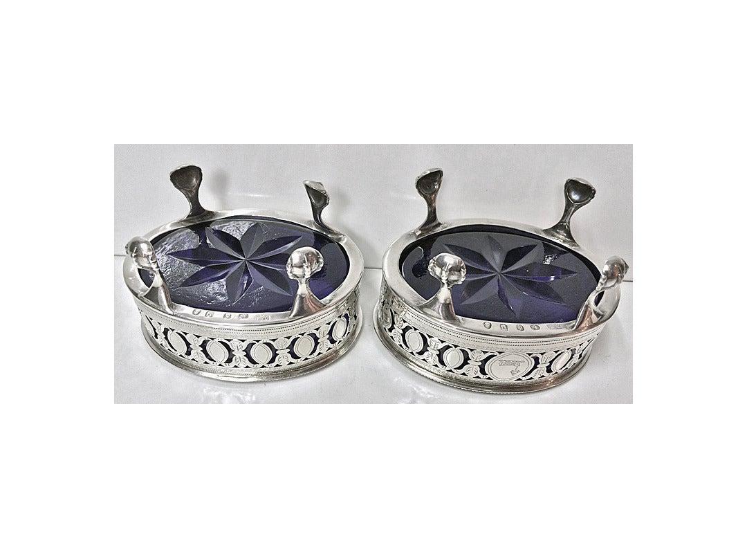 Hester Bateman Georgian Silver Salts and Spoons London 1790 1