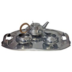 Archibald Knox Liberty Tudric Pewter Tea Set and Tray, circa 1905