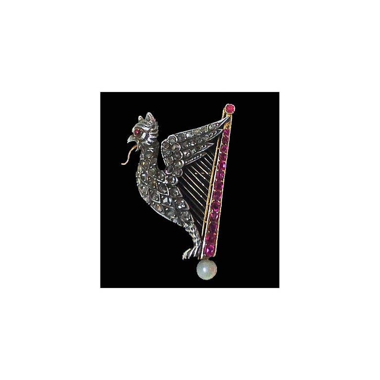 French Pearl Ruby Diamond Gold Griffin and Harp Brooch 2