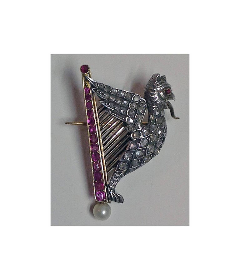 French Pearl Ruby Diamond Gold Griffin and Harp Brooch 3